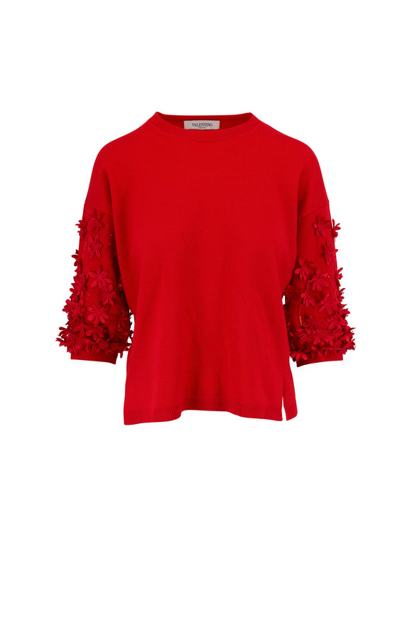 Valentino Red Wool & Cashmere Floral Appliqué Sweater