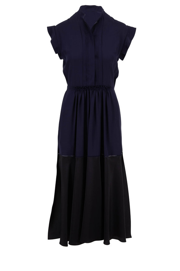 Chloé Navy & Black Silk Contrast Hem Short Sleeve Dress