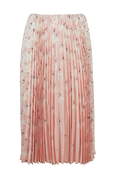 Valentino - Pink Silk Floral Print Pleated Skirt