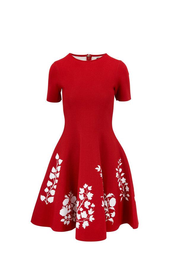 Oscar de la Renta Cranberry Knit Floral Hem Short Sleeve Dress