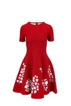 Oscar de la Renta - Cranberry Knit Floral Hem Short Sleeve Dress