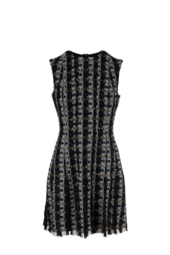 Oscar de la Renta Black & White Tweed Sequin Sleeveless Dress