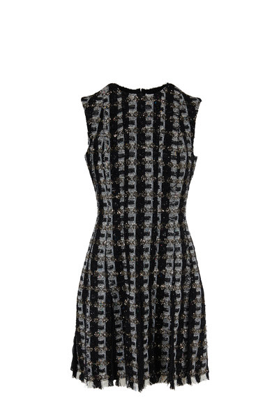 Oscar de la Renta - Black & White Tweed Sequin Sleeveless Dress