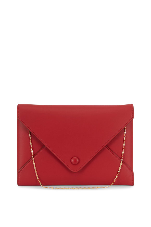 The Row Ruby Red Leather Envelope Clutch