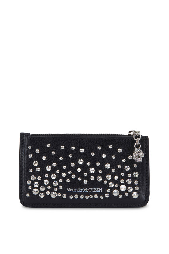 Alexander McQueen Black Leather Studded Zip Card Case