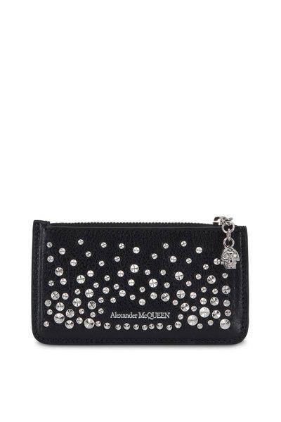 Alexander McQueen - Black Leather Studded Zip Card Case