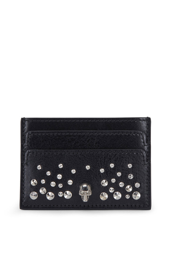 Alexander McQueen Black Leather Studded Card Case