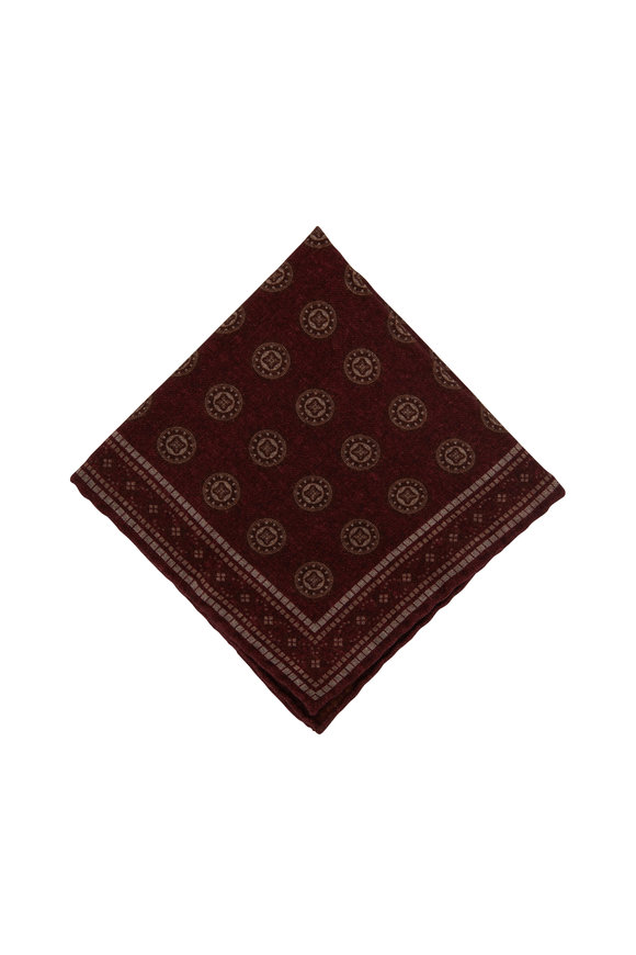Brunello Cucinelli Red Geometric Print Wool Pocket Square