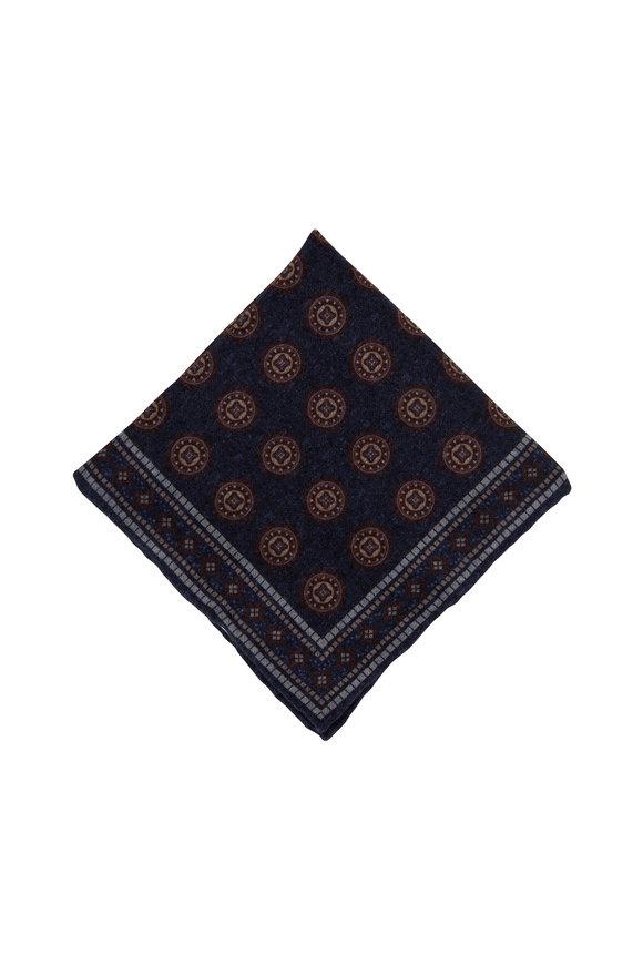Brunello Cucinelli Blue Geometric Print Wool Pocket Square