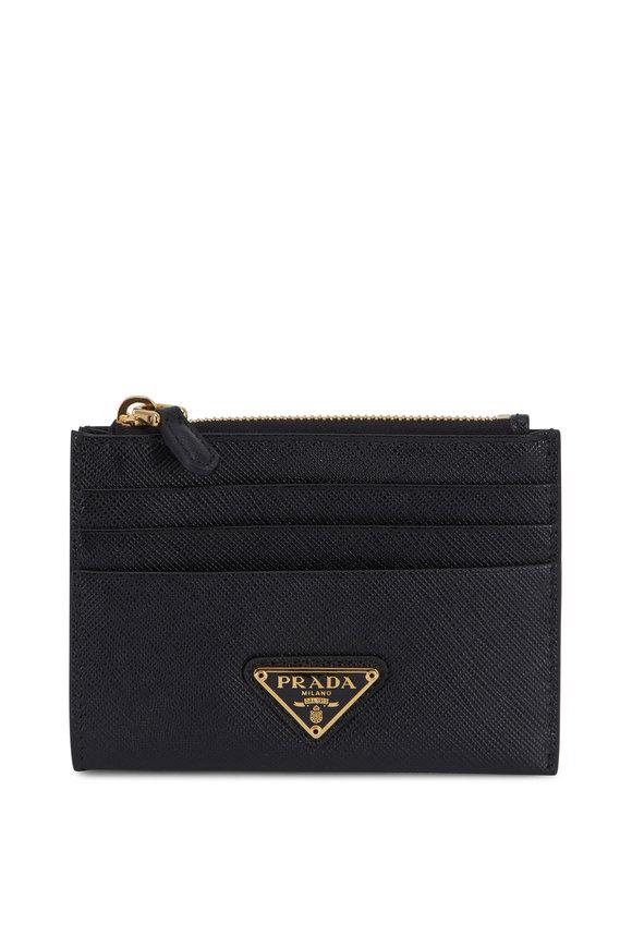 Prada Black Grained Leather Zip Card Holder