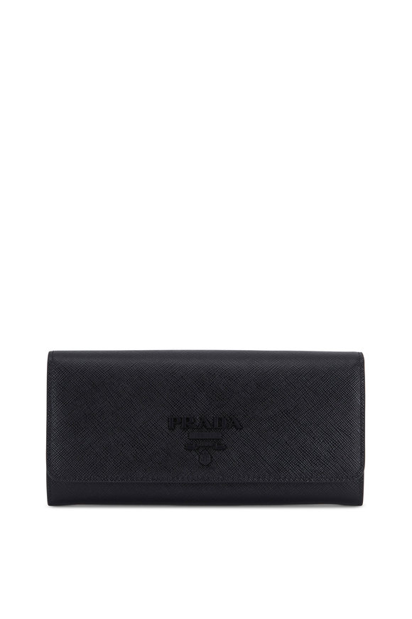 Prada Black Grained Leather Front-Flap Wallet
