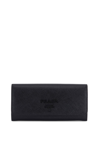 Prada - Black Grained Leather Front-Flap Wallet