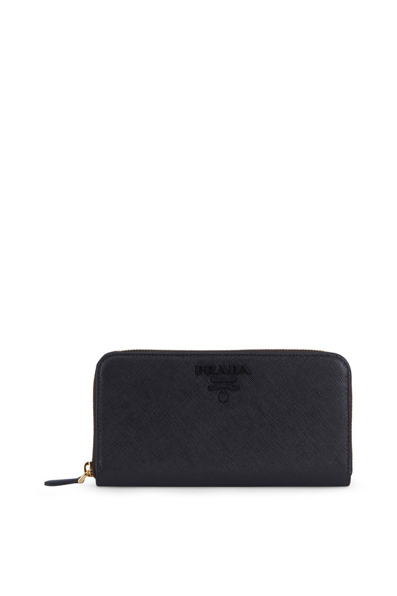Prada Black Grained Leather Continental Wallet