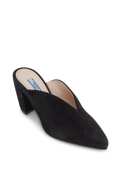 Prada - Black Suede V-Neck Block Heel Mule, 65mm