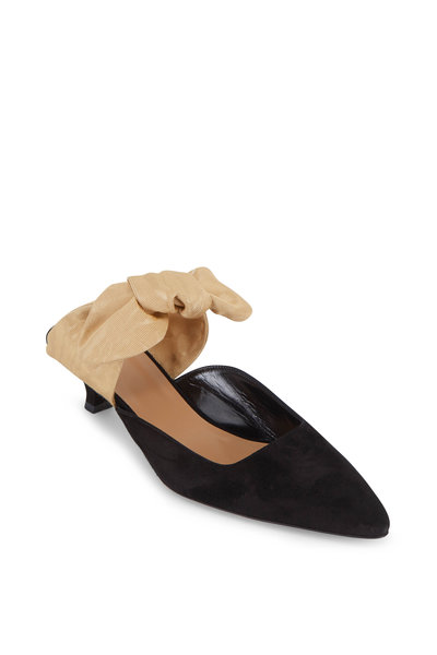 The Row - Coco Black Suede & Sahara Grosgrain Bow Mule, 40mm
