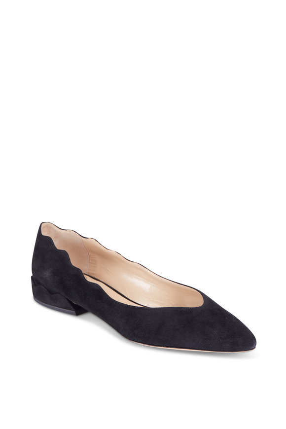 Chloé Laurena Black Suede Scalloped Flats