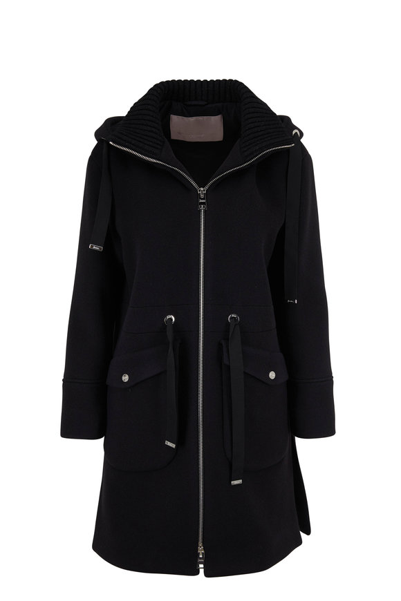 Herno Duffle Black Wool & Cashmere Knit Collar Coat