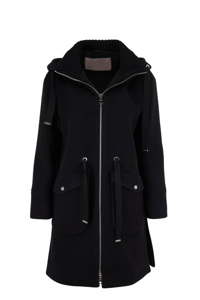 Herno - Duffle Black Wool & Cashmere Knit Collar Coat