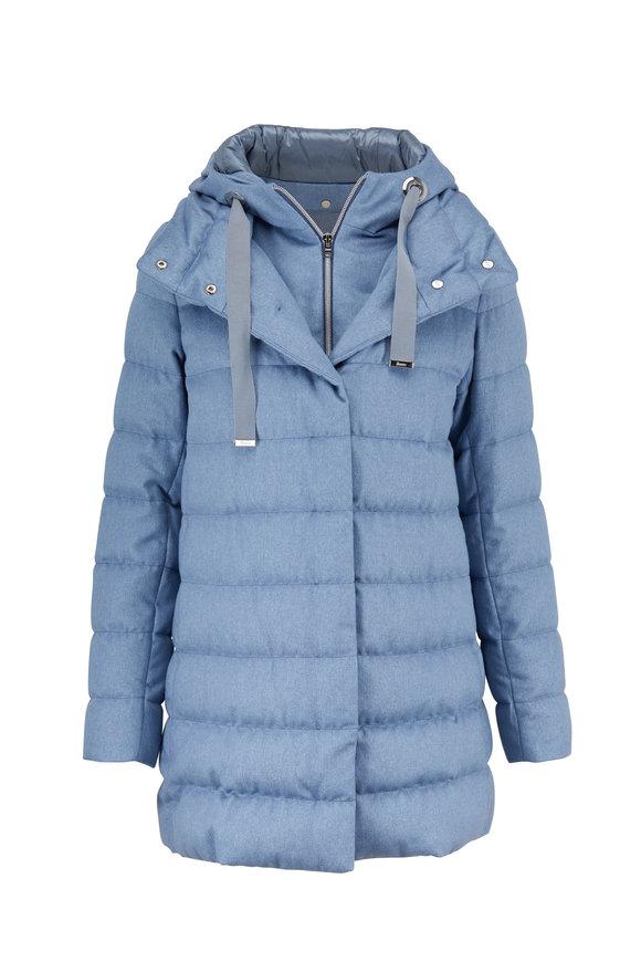 Herno Sky Cashmere & Silk Lurex Hooded Puffer Jacket