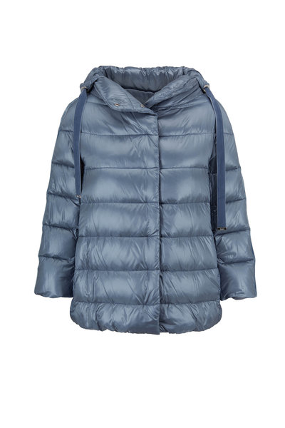 Herno - Sky Blue Three-Quarter Sleeve Hooded Jacket