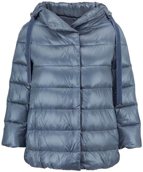 Herno Sky Blue Three-Quarter Sleeve Hooded Jacket