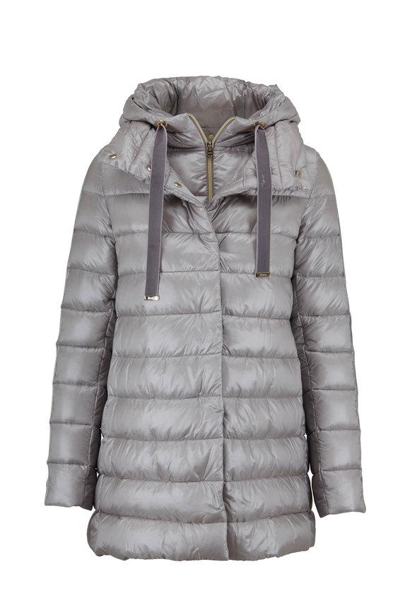 Herno Silver Velvet Trim Hooded Puffer Jacket
