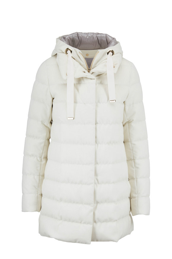 Herno Ivory Cashmere & Silk Lurex Hooded Puffer Jacket