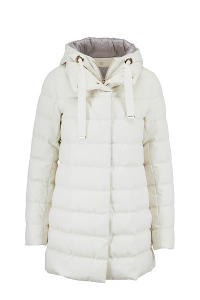 Herno - Ivory Cashmere & Silk Lurex Hooded Puffer Jacket