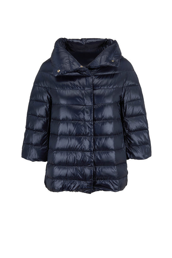 Herno Classic Navy Three-Quarter Sleeve Puffer Jacket
