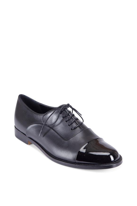Manolo Blahnik Rodita Black Patent Leather Captoe Derby