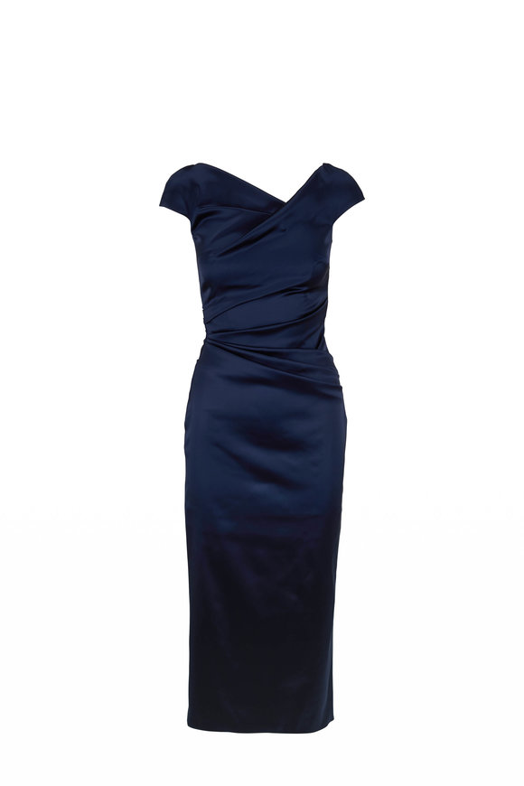 Talbot Runhof Roya 1 Navy Off-The-Shoulder Ruched Gown