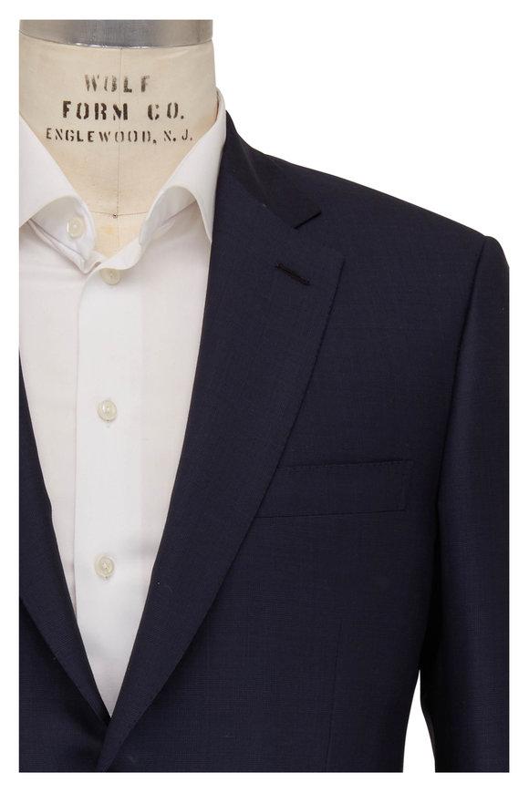 Brioni Navy Blue Tonal Plaid Wool Suit
