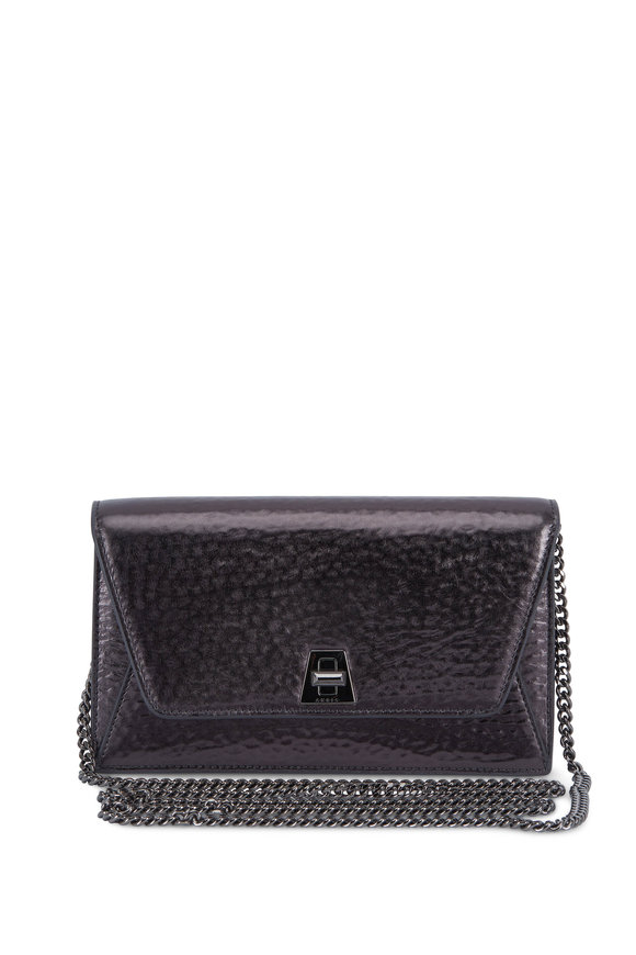 Akris Anouk Black Metallic Hammered Leather Mini Bag