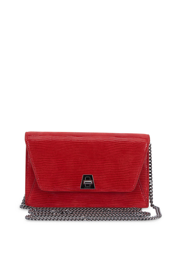 Akris Anouk Red Lamè Lizard Mini Envelope Shoulder Bag