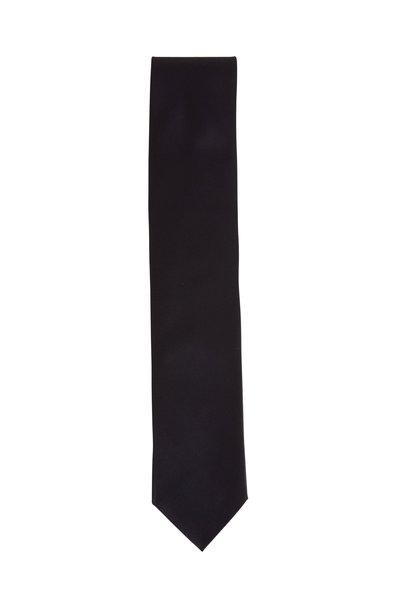 Dolce Punta - Black Satin Formal Necktie
