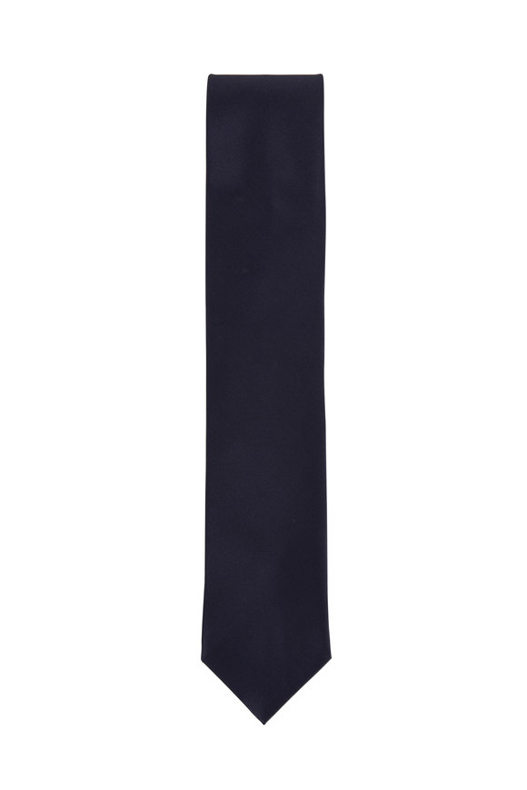 Dolce Punta Navy Blue Satin Formal Necktie