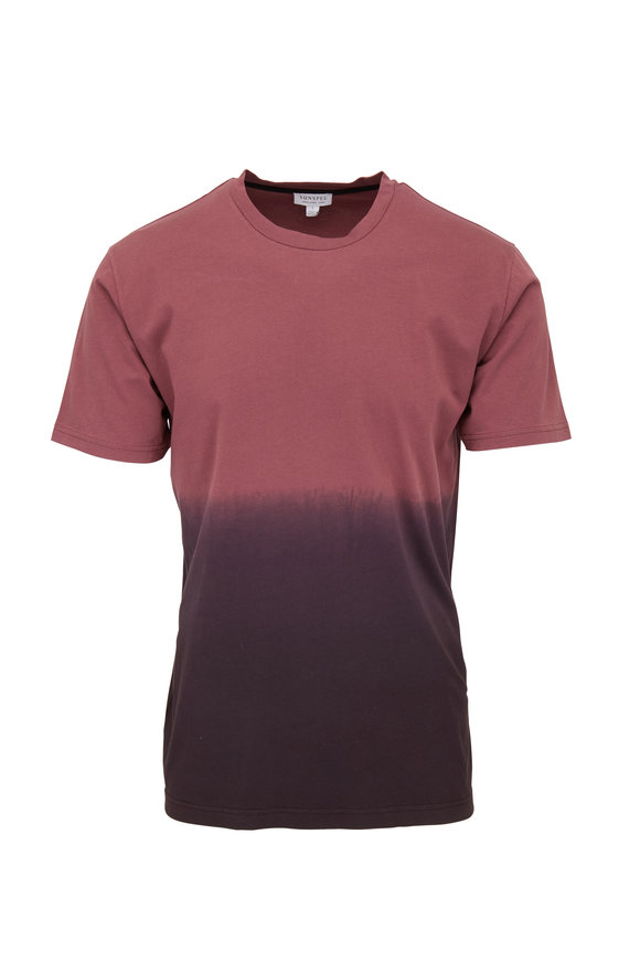 Sunspel Riviera Burgundy Ombré T-Shirt