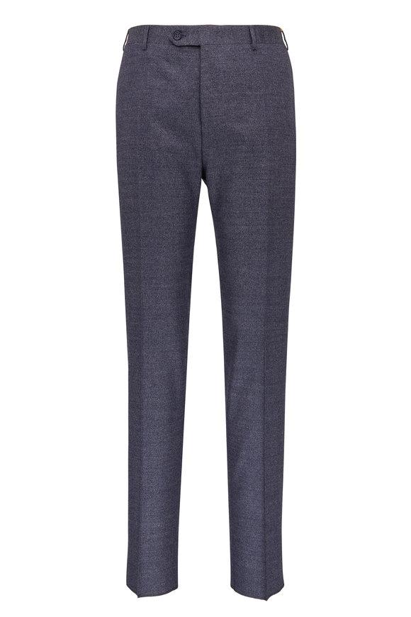 Canali Medium Blue Donegal Stretch Wool Pant