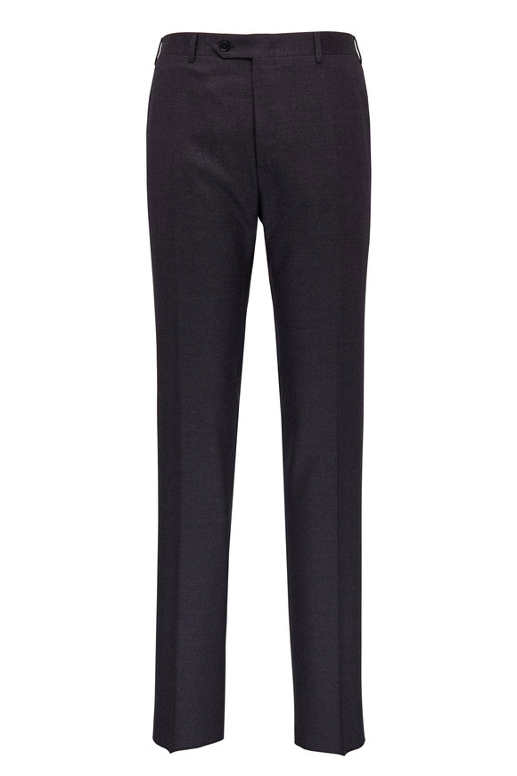 Canali Dark Navy Donegal Stretch Wool Pant