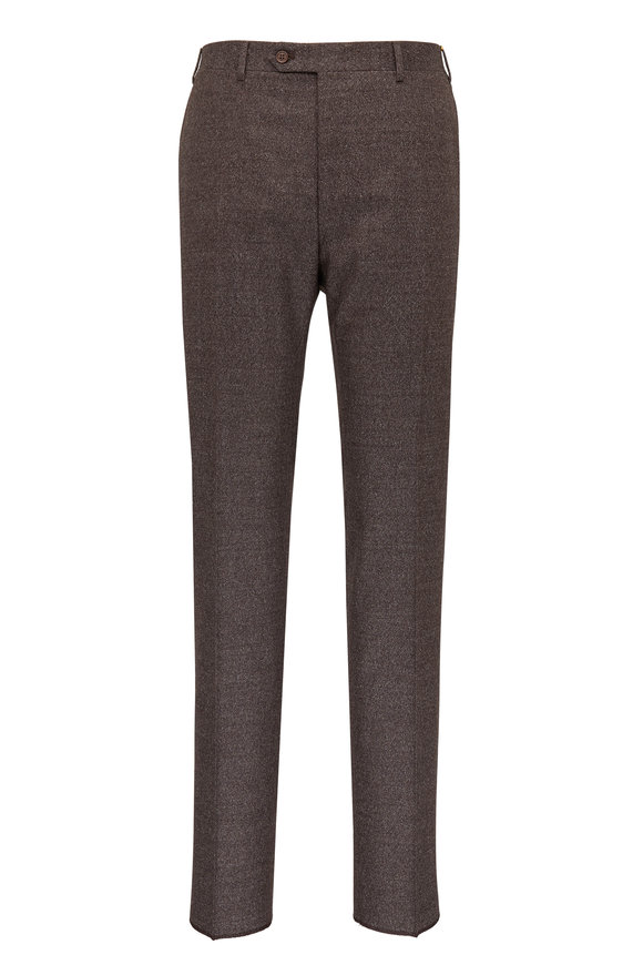 Canali Gray Brown Donegal Stretch Wool Pant