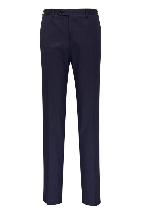 Canali Navy Stretch Wool Pant