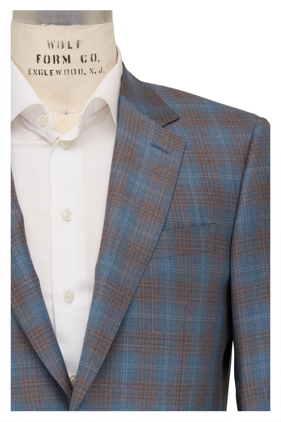 Canali Blue & Brown Plaid Wool Sportcoat