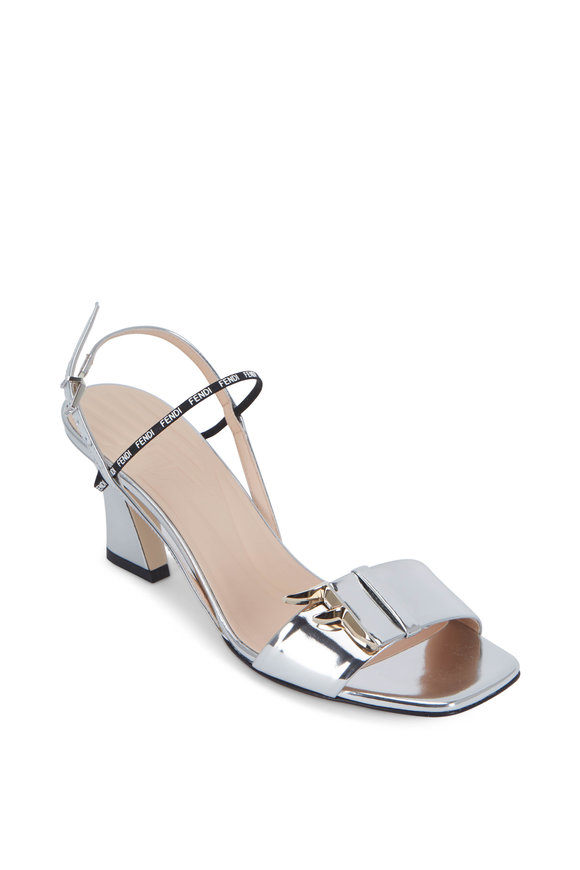 Fendi FFreedom Silver Mirror Laminate Sandals, 65mm