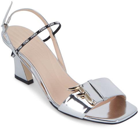Fendi FFreedom Silver Mirror Laminate Sandals, 65mm