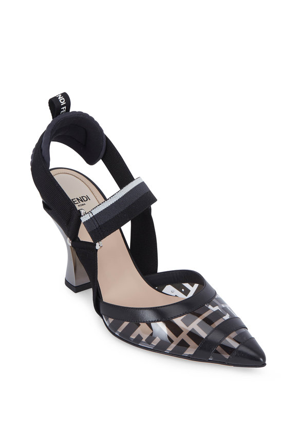 Fendi Colibri Black Logo PVC & Elastic Pump, 85mm