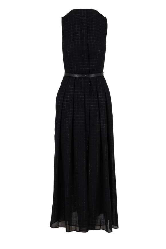 Akris Black Wool Lurex Plaid Belted Sleeveless Dress