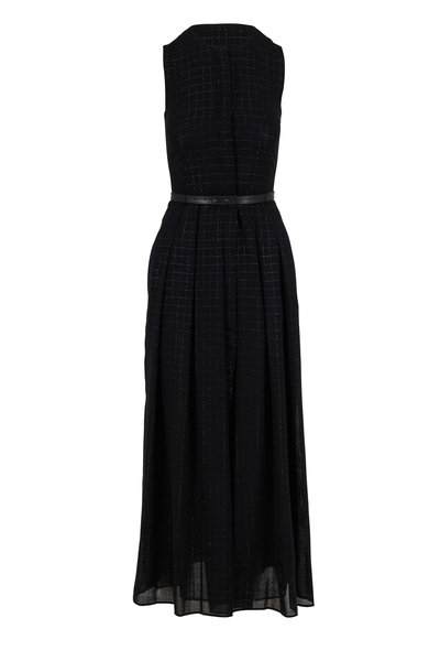 Akris - Black Wool Lurex Plaid Belted Sleeveless Dress