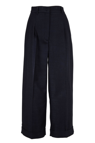 Akris - Black Silk & Wool Wide Leg Cuffed Pant