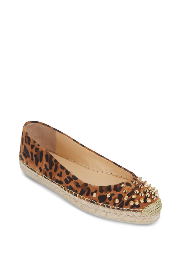 Christian Louboutin Aliochette Leopard Print Suede Studded Espadrille