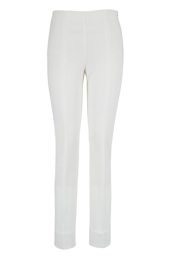 Akris Punto Milena Cream Stretch Wool Back Slit Pant
